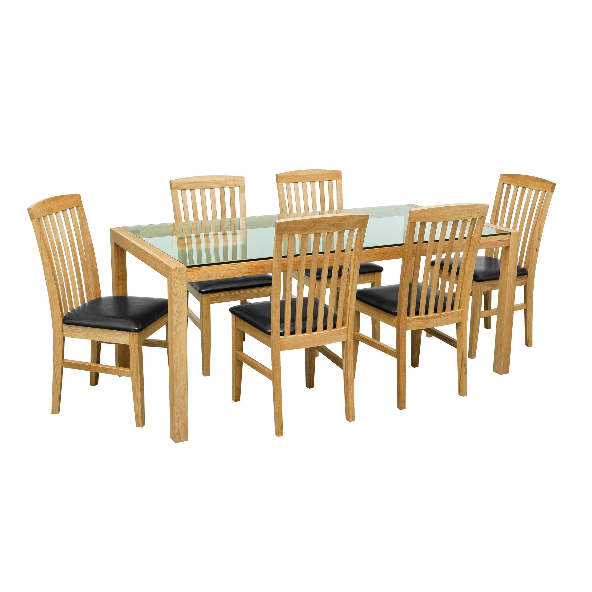 Premier Housewares 7 Piece Solid Oak Dining Set at Tesco Direct