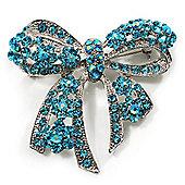 Stunning Light Blue Swarovski Crystal Bow Brooch (Silver Tone)