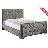 ValuFurniture Delaware Velvet Fabric Bed Frame - Silver - Small Single - 2ft 6