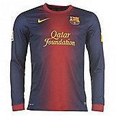 2012-13 Barcelona Home Long Sleeve Football Shirt - Red