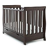 Obaby Lincoln Mini Sleigh Cot Bed & Sprung Mattress - Walnut