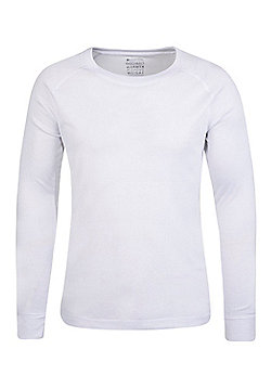 Talus Mens Long Sleeved Round Neck Top - White