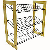 Marilla - Wood + Metal Shoe Storage Rack - Pine / Black