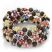 Acrylic Flower Bead Coil Flex Bracelet (Dark Green) - Adjustable