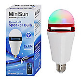 Minisun ES E27 3W LED Bluetooth Speaker Bulb RGB Colour Changing