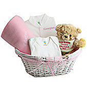 Personalised Pink Baby Gift Set Basket