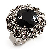 Jet Black Round-Cut CZ Flower Ring (Silver Tone)