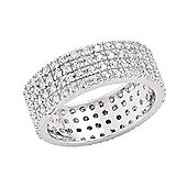 Rhodium-Coated Sterling Silver Eternity Ring Size