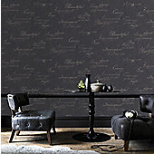 Graham & Brown Concrete Script Wallpaper - Charcoal