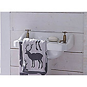 Catherine Lansfield Home Cosy Corner Swing Stag Jacquard 500gsm Bath Towel Grey