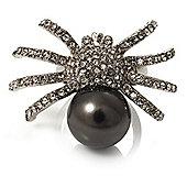 Swarovski Crystal Pearl Spider Ring (Silver Tone)