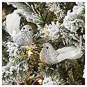 Silver Sequin Birds Christmas Tree Decorations, 2 pack