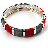 Red&Grey Segmental Enamel Hinged Bangle Bracelet (Silver Tone)