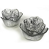 Lite - Glass Flower Shaped Tea Light Holder - Set Of Two - Silver