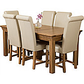 Bordeaux Rustic Solid Oak 180 cm Dining Table with 6 Washington Chairs (Ivory)