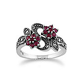 Gemondo Sterling Silver Art Nouveau 0.58ct Ruby & Marcasite Flower Ring