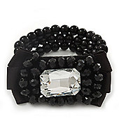3-Strand Black Glass Bead With Fabric Bow Stretch Bracelet - 18cm Length