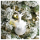 Weiste Silver Glitter Stag Christmas Tree Decoration