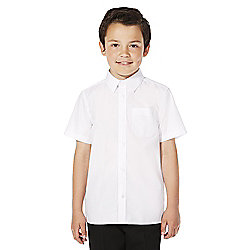F&F School 2 Pack of Boys Easy Iron Short Sleeve Shirts years 15 - 16 White