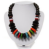 Wood & Resin Chunky Multicoloured Bead Necklace