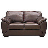 Alberta Small Leather Sofa Chocolate