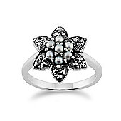 Gemondo Sterling Silver 0.44ct Chinese Freshwater Pearl & 0.19ct Marcasite Flower Ring
