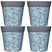 4 x 22cm Blue Geometric Plastic Garden Planter 5L Flowerpot by Hum