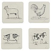 Tesco Farm Animal Coasters, 4 Pack