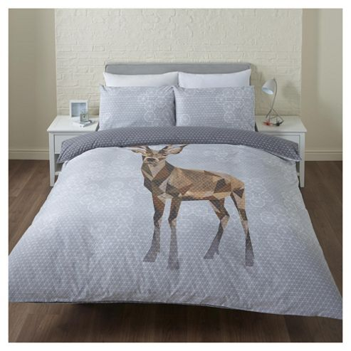buy christmas geometric stag single duvet set from our. Black Bedroom Furniture Sets. Home Design Ideas