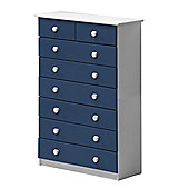 6 + 2 Chest of Drawers in White and Blue