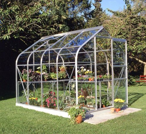Halls 8x6 Curved Greenhouse + Base - Horticultural Glass