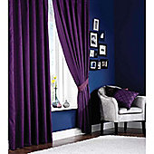 Catherine Lansfield Home Plain Faux Silk Curtains 90x90 (229x229cm) - Aubergine - Tie backs included