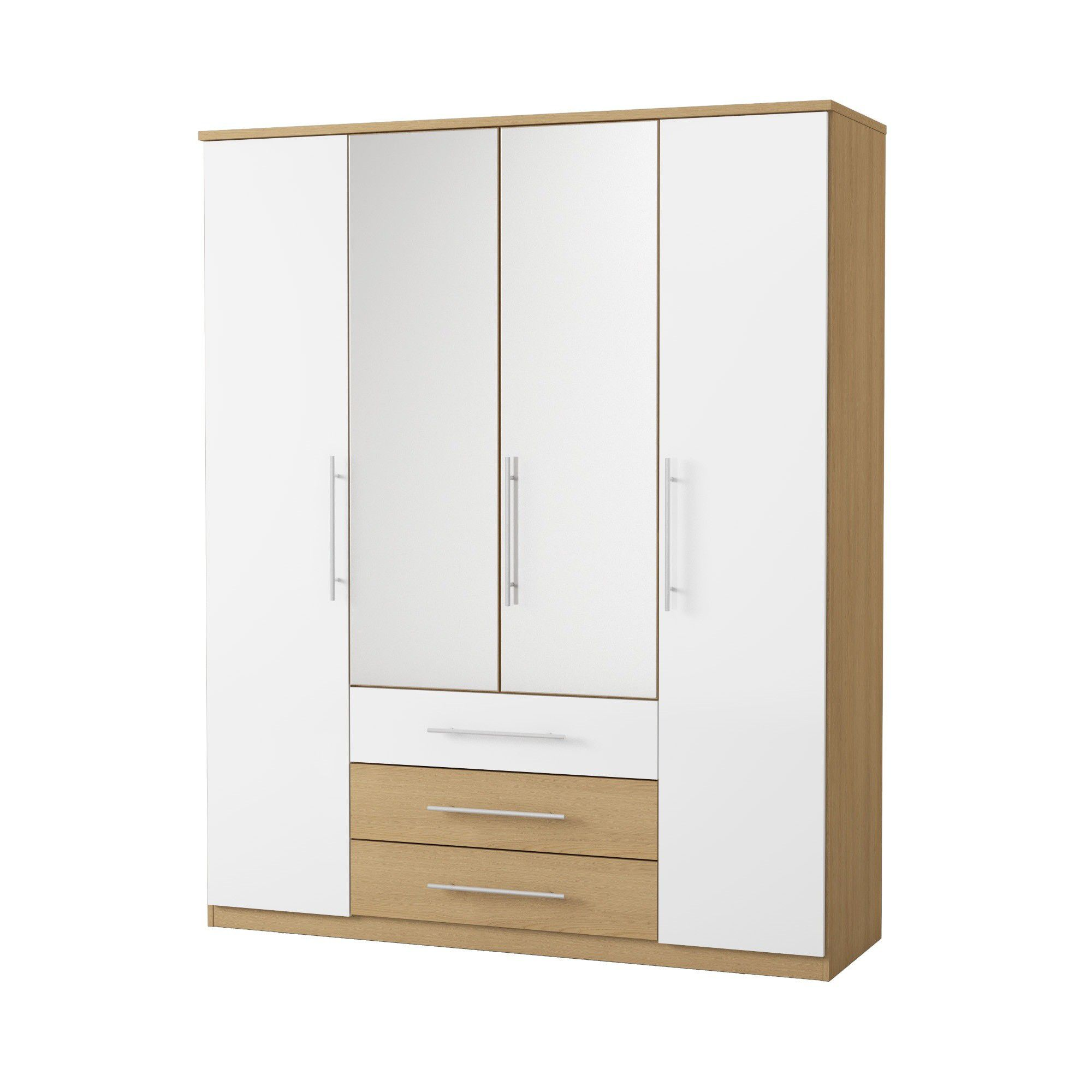 Urbane Designs Sorrento 4 Door 3 Drawer CNT Mirror Wardrobe at Tesco Direct