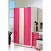 Welcome Furniture Knightsbridge Tall Wardrobe with Mirror - Pink - Black