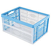 Tesco 32L Plastic Folding Crate, Blue
