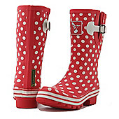Evercreatures Ladies Evergreen Short Wellies White Polka Dots 6