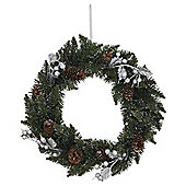 Silver Glitter Leaf, Berry and Pine Cone Christmas Wreath, 45cm