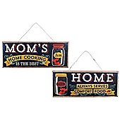 'Mom's Home Cooking' Hanging Wooden Vintage Sign Pair Home Decor