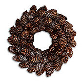 Pine Cone Christmas Wreath With Frosted Snow Finish