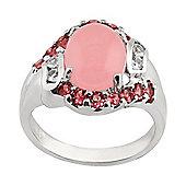 Gemondo Sterling Silver 2.5ct Pink Jade, 0.5ct Tourmaline & 0.14ct Sapphire Cluster Ring