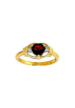 QP Jewellers Diamond & Garnet Halo Heart Ring in 14K Gold - Size B 1/2
