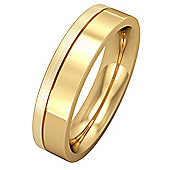 18ct Yellow Gold - 5mm Flat Court with Fine Groove Wedding Ring