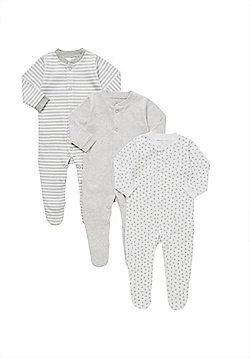 F&F 3 Pack of Striped and Polka Dot Sleepsuits - Grey