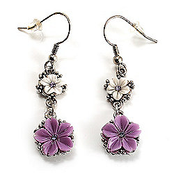 Lilac Floral Drop Earrings (Burn Silver Finish)