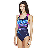 Zoggs Graphic Print Open Back Swimsuit - Blue