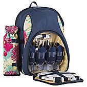 Navigate Floral 4 Person Picnic Backpack with Bottle Holder