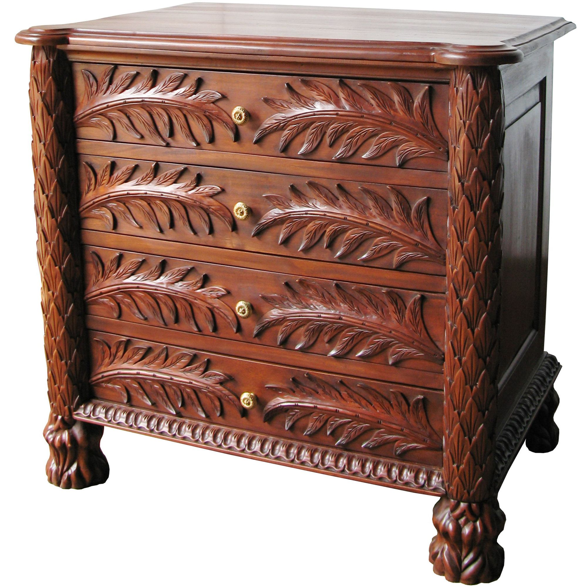 Lock stock and barrel Mahogany 4 Drawer Palm Chest - Wax at Tesco Direct