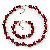 Red/Black Glass Pearl Necklace & Bracelet Set In Silver Plating - 38cm Length/ 4cm Extension