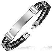 Urban Male Men's Slim Stainless Steel & Rubber ID Bracelet