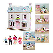 Le Toy Van Mayberry Manor Dolls House, Daisylane Furniture and Dolls